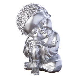 Spargris Buddha liten silver